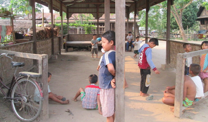 children playing in displaced people camps in kachin