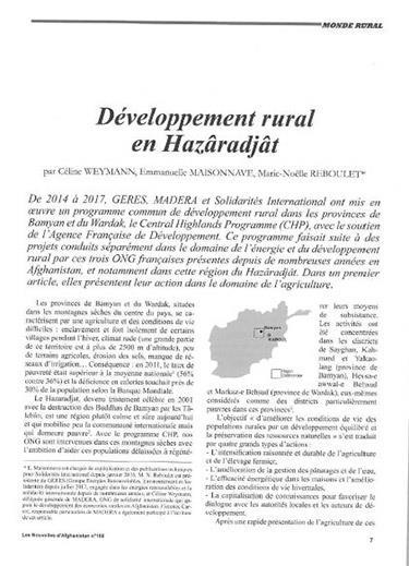 Développement rural Hazâradjât Afghanistan