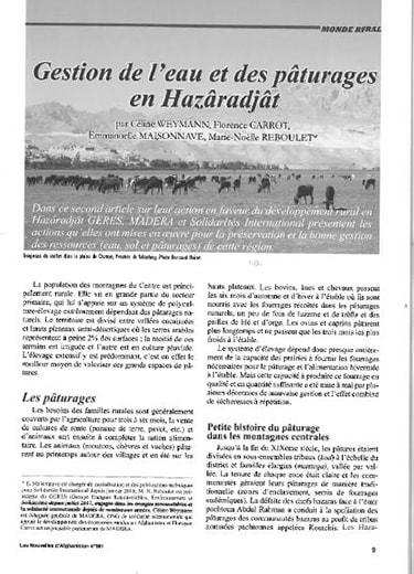 Gestion de l'eau et des paturage en Hazaradjat