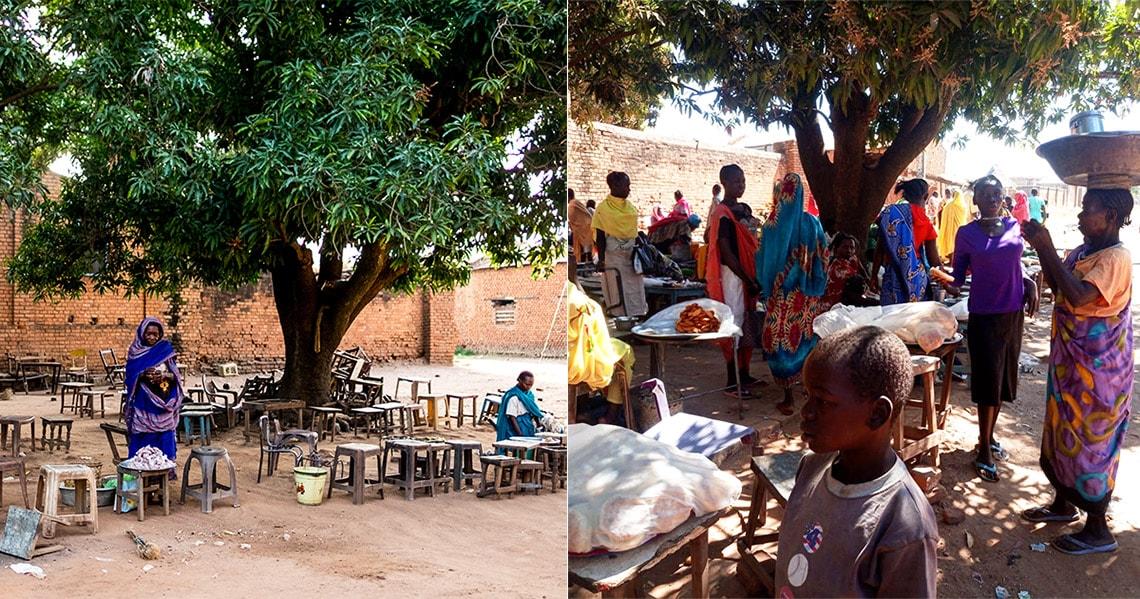 marché de Raja Soudan du Sud avant-après
