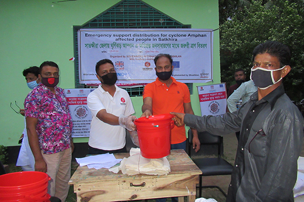 Distribution of sanitation kits after Amphan cyclone in Bangladesh